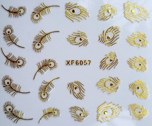 3D Gold Peacock Feather Nail Art Sticker - J20Style - 3
