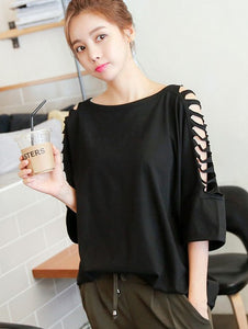 Casual Loose Black Blouse - J20Style - 2