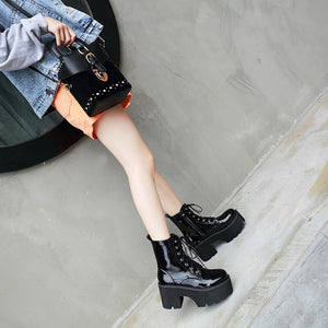Black Punk Platform Rock Boots