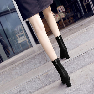 Pointed High-Heeled Boots