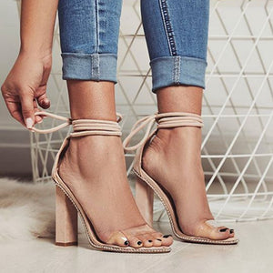 Transparent Band Square Heels