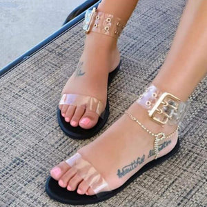 Transparent Open Toe Jelly Shoes