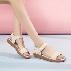 Comfortable White Leather Flat Sandals