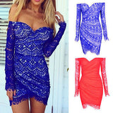 Long Sleeve Evening Party Mini Dress - J20Style - 3