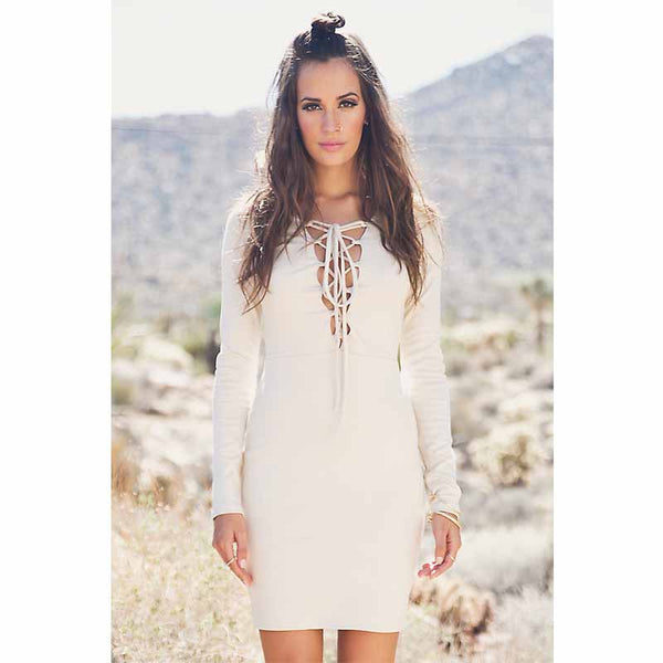 Brazilian V-Neck Strap Party Long Sleeve Dress - J20Style - 1