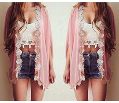 Flower Chiffon Bat Sleeve Cardigan - J20Style - 1