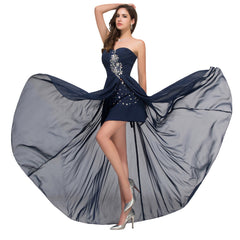 Backless Navy Blue Prom Dress - J20Style - 1