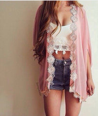 Flower Chiffon Bat Sleeve Cardigan - J20Style - 2