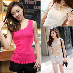 Candy Color Floral Lace Short T-Shirt - J20Style