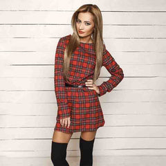 Casual Long Sleeve Plaid Printed Mini Dress - J20Style - 2