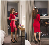 Korean V-Collar Slim Prom Dress - J20Style - 5