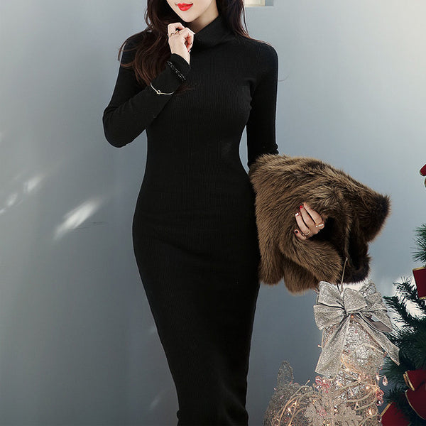 Winter Turtleneck Black Long Maxi Dress - J20Style