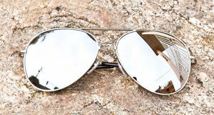 Trendy Hispter Silver Mirror Aviator Sunglasses - J20Style - 4