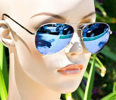 Blue Mirror Silver Aviator Pilot Sunglasses - J20Style - 2