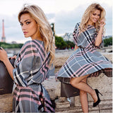 O-neck Half Sleeve Tunic Vintage Plaid Print Dress