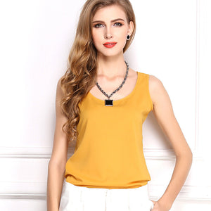 Summer Candy Color Sleeveless Chiffon T-Shirt - J20Style - 8