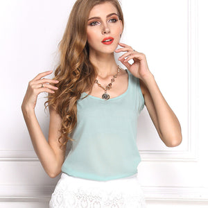 Summer Candy Color Sleeveless Chiffon T-Shirt - J20Style - 13