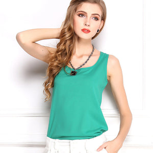Summer Candy Color Sleeveless Chiffon T-Shirt - J20Style - 18
