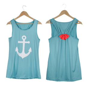 Summer Anchor Printed Sleeveless Tops - J20Style - 7