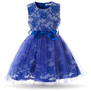 Kids Prom Party Sleeveless Rose Flower Baby Mesh Princess Gown Dress