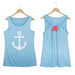 Summer Anchor Printed Sleeveless Tops - J20Style - 8