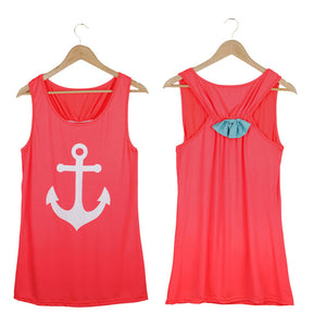 Summer Anchor Printed Sleeveless Tops - J20Style - 9