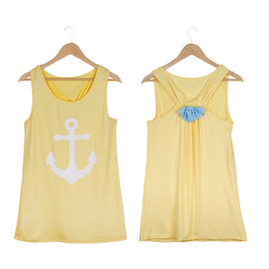 Summer Anchor Printed Sleeveless Tops - J20Style - 11
