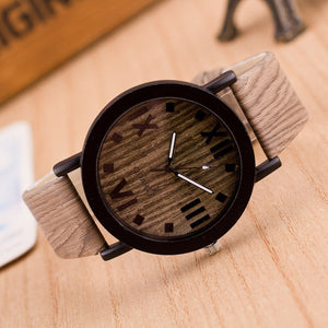 Roman Numerals Imitate Wood Analog Quartz Watch