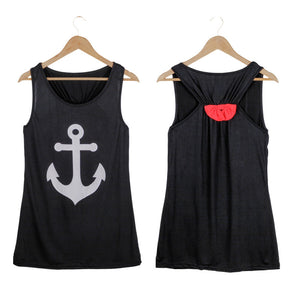 Summer Anchor Printed Sleeveless Tops - J20Style - 12