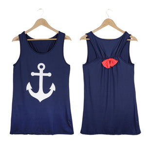 Summer Anchor Printed Sleeveless Tops - J20Style - 13
