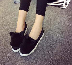 Real Fur Woman Ears Low Cut Casual Shoes