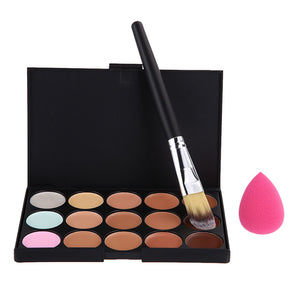 Pink Sponge Puff with Brush and Concealer Palette - J20Style - 7