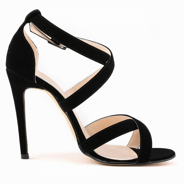 Faux Velvet Open Toe Ankle Strap High Heel Sandal