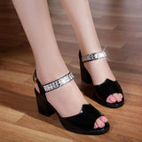 Genuine Leather Rhinestones Summer Sandals
