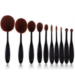 10 pcs/set Oval Toothbrush Foundation Makeup Brush