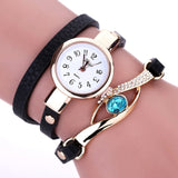 Luxury Eye Gemstone PU Leather Watch