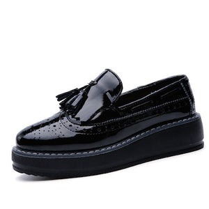 High Quality Patent Leather Tassel Slip-on pointed Creeper Flat
