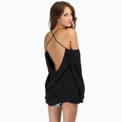 Summer Slash Backless Cross Strap Blouse - J20Style - 4
