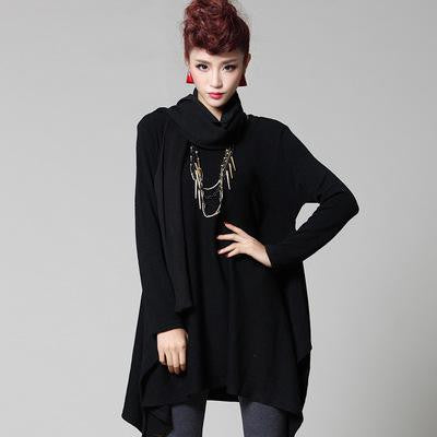 O-neck Knee-length Long Sleeved Thick Winter Dress