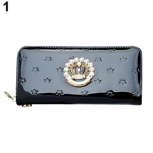 Faux Leather Rhinestone Crown Long Purse - J20Style - 10