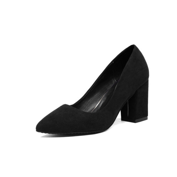 Office Lady Pointed Toe Square Heeled Pumps