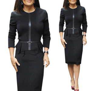 Vintage Belt Slim Wear To Work Office Pencil Dress