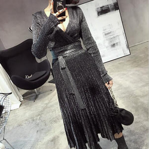 Spring Pleated Large V Collar Lace Up Shiner Knitted Elastic Dress