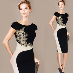 Elegant Vintage Embroidered Contrast Slim Dress