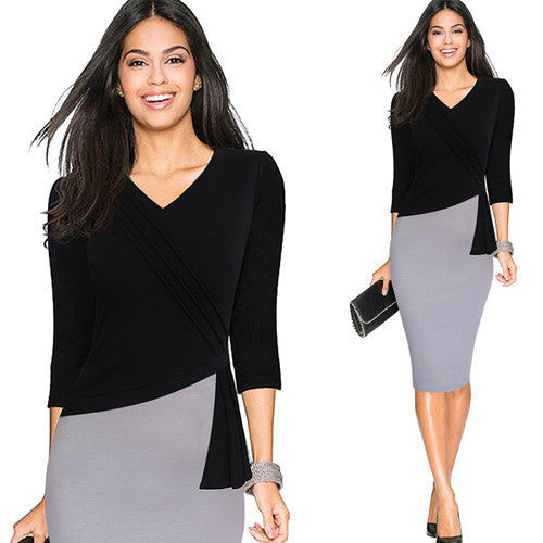 Mature V-neck Warm Stylish Wiggle Work Dress