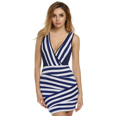 Club Sexy V-neck Stripped Sleeveless Mini Party Dress