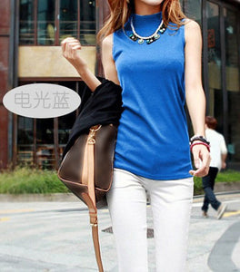 Summer Sleeveless Turtleneck Cotton T-Shirt - J20Style - 5