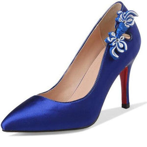 Sexy High Thin Heel Pointed Toe Chrysanthemum Knot Blue