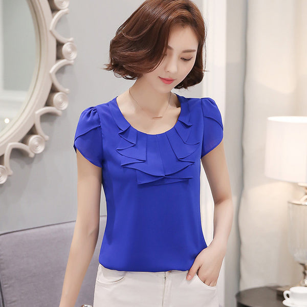 New Elegant  Short Sleeve Chiffon Blouse office shirt