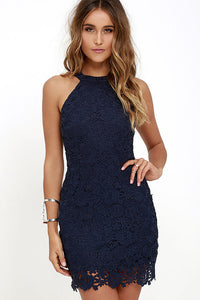 Women Casual Elegant Wedding  Halter Neck Sleeveless Sheath Bodycon Lace Mini Dress
